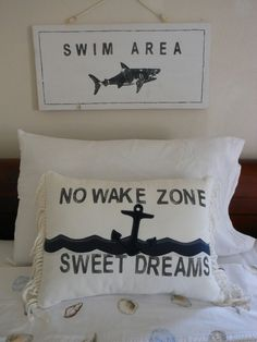 No Wake Zone. Sweet Dreams. Pillow. Nautical Anchor. Navy and White. Beach Cottage. Nautical Decor for Coastal Living by searchnrescue2