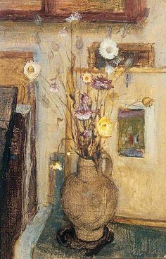 Margaret Thomas. Everlasting Flowers, 1953 Oil on canvas, 59.1 x 38.5 cm The Stanley & Audrey Burton Gallery, University of Leeds