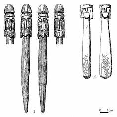 Abb. 5. Vierköpfige Stabidole aus Svendborg, Fünen, (links) und Wolin, Ldkr. Kamien Pomorski, (rechts). Idol, Art Story, Medieval Art, Prehistory, Dark Ages, Museum, Woodworking, Art, Archaeological Finds