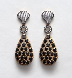 22 kt Gold Plated Earrings with CZ and Black Onyx