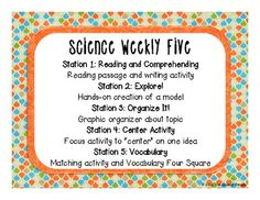 Science Weekly Five Classroom Signs for using science centers!