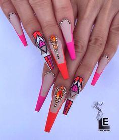 50 Beautiful Nail Art Designs & Ideas Nails have for long been a vital measurement of beauty and Blue Acrylic Nails, Neon Nails, Bling Nails, Love Nails, Pastel Nails, Nail Swag, Beautiful Nail Designs, Cute Nail Designs, Perfect Nails