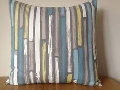 fabric blue grey duck | One New Duck Egg Blue Teal Grey Stripe Cotton Fabric…