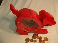 Playful Red Puppy Coin Bank.. - Northwest Outdoor Wood Crafts ...