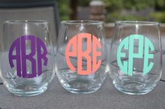 Monogrammed glasses. I want to find a way to do this at home and give them to friends as gifts.