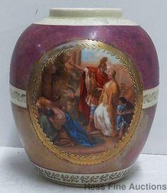 Antique Czech Porcelain Figural Roman Scene Czechoslovakian Gilt Vase