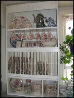So you have all that pretty china that youve been collecting over the years and you want a plate rack to show it off? I wanted that too. I searched high and low for a plate rack that would suit my needs. What I found was, either the plate racks. Wooden Plate Rack, Plate Rack Wall, Diy Plate Rack, Wooden Plates, Plates On Wall, Plate Holder, Plate Racks In Kitchen, Kitchen Window Shelves, Wall Cupboards