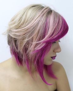 Women Hairstyles Layers Blonde Angled Lob With Pink Highlights.Women Hairstyles Layers Blonde Angled Lob With Pink Highlights Platinum Blonde Hair Color, Blonde With Pink, Medium Hair Styles, Short Hair Styles, Medium Shag Haircuts, Shaggy Hairstyles, Bandana Hairstyles, Hairstyle Ideas, Bright Hair Colors
