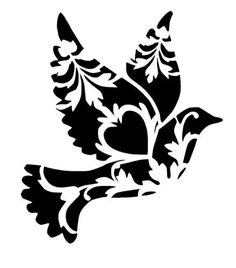 Floral Bird Bird Reusable Stencils Ready to use Custom image 1 Bird Stencil, Stencil Art, Stenciling, Damask Stencil, Damask Wall, Stencil Patterns, Stencil Designs, Stencil Templates, Embroidery Patterns