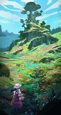 Summer Memories Art Print by Jessica Smith - X-Small Landscape Concept, Landscape Art, Landscape Illustration, Illustration Art, Arte 8 Bits, Affinity Photo, Fantasy Concept Art, Fantasy Art Landscapes, Art Anime