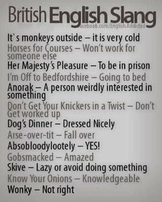 "British English Slang - 'Dog's dinner' means 'a mess', something that's gone wrong, rather than 'dressed nicely'. There's also a common extension to the 'going to bed' phrase, where you say: ""I'm climbing the wooden hill to Bedfordshire. English Writing, English Words, English Lessons, English Grammar, Teaching English, Learn English, English Language, Slang English, The Words"