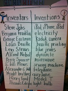 The Adventures of a First Grade Teacher: Inventors! Teaching Social Studies, Teaching Science, Science Activities, Science Education, Science Curriculum, Teaching Resources, Teaching Ideas, Teaching Strategies, Science Experiments