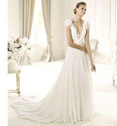 Custom style V-neck with short sleeve chiffon over satin elegant wedding dress Read More: http://www.weddingscasual.com/index.php?r=custom-style-v-neck-with-short-sleeve-chiffon-over-satin-elegant-wedding-dress.html