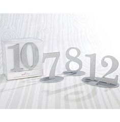 Kate Aspen Silver Glitter Acrylic Table Numbers (7-12)
