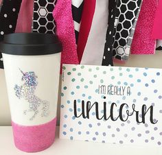 Unicorn Travel Mug Glitter Unicorn Unicorn by ThePinkPolkaDotCC