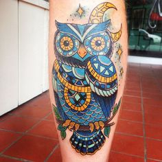 Owl mosaic. Tattoo done by Jessie Beans at Five Fathoms in Vernon B.C., Canada.