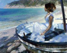 In a White Boat by Vladimir Volegov