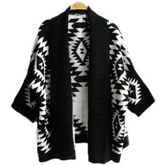 Black Elegant Ladies Long Sleeve Aztec Cardigan Sweater Coat (168.080 IDR) ❤ liked on Polyvore featuring tops, cardigans, outerwear, jackets, sweaters, black, cardigan top, long sleeve cardigan, aztec print cardigan and aztec top