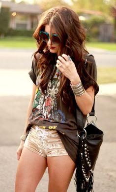 Shop this look on Kaleidoscope (shirt, shorts, bracelet)  http://kalei.do/Wr1Bexo5gBI4Tf7I