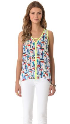 Want for spring: graphic tank. This would be perfect with some striped shorts, mixing prints is unexpected