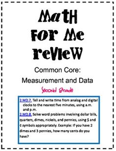 Common Core Math for Me Review for Time and Money
