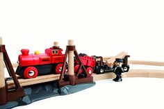 Brio - Train Railway Steam Engine Set 33030 - Brio - Brands - - who need Thomas? this is so cool, would make an awesome additional to our (my son's set) Brio, Steam Engine, Cool Toys, Wooden Toys, Engineering, Cool Stuff, Classic, Awesome, Christmas