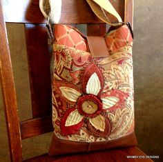 CROSSBODY HOBO BAG-Upcycled-Repurposed Fabric-iPhone pocket-Tangerine-Appliqued-Eco Friendly by WhimsyEyeDesigns on Etsy