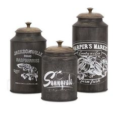 Darby Metal Canisters - Set of 3 73383-3