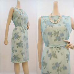 60s Dress Vintage Rose Print Rayon and Chiffon Wiggle Cocktail Sheath L XL. $75.00, via Etsy.