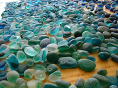 teal and other beautiful shades of blue glass- sea glass- imagine drilled for…