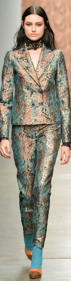 Color combo of turquoise and light copper, srSophie Theallet Fall Winter 2015-16 RTW
