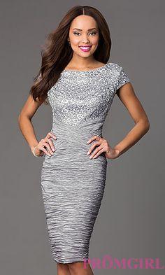 Knee Length Short Sleeve Ruched Dress at PromGirl.com