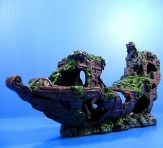 "Sunken Ship-wreck 16.9""x3.9""x7.6"" Aquarium Ornament Decor boat Ancient ship cave"