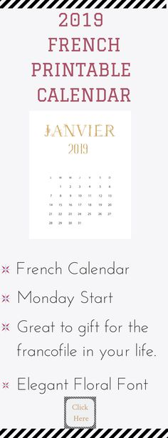 French calendar with Monday start and elegantly floral font. This calendar is a printable French calendar that is a perfect gift for the Francophile in your life. It is has a Monday (Lundi) start and a minimalist style.   Great for your office/home. It can be put in a frame and all you have to do is swap it out once a month. Print it on high-quality paper - purchase a frame and put it together and voila!!! you have an instant gift.