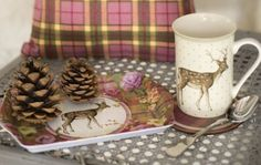 Katie Alice Highland Fling Stag Time For Tea Gift Set, including a Mug, Tray & Coasters