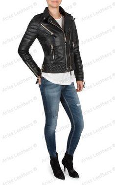 Women/'s Genuine Lambskin Motorcycle Real Leather Jacket Slim fit Biker Jacket 97