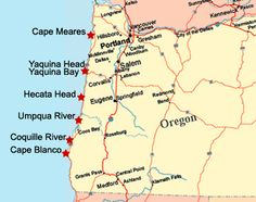Map of Lighthouses on the Oregon Coast - two day road trip