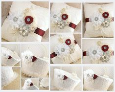 Bridal Ring Bearer Pillow and Flower Girl Basket Set in Ivory and Burgundy with Lace, Crystal Brooch, Jewels and Pearls