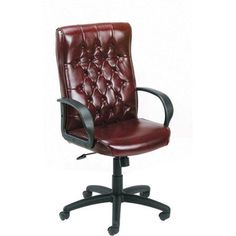 Boss Office Products Button Tufted Executive Office Chair, Burgundy, Brown