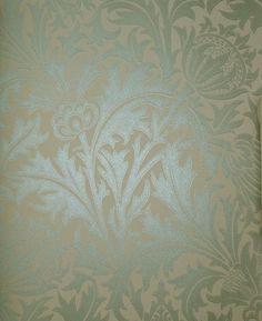 Thistle Wallpaper Irridescent duck egg print on beige wallpaper depicting thistle flowers