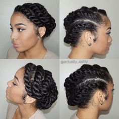 Asymmetrical Updo with Chunky Twist Braids One of the classiest protective hairstyles for thick locks, the asymmetrical updo involves chunky braids that wrap the head gracefully and create a fancy hairstyle based on the rather simple flat twist technique. Protective Hairstyles For Natural Hair, Natural Hair Twist Out, Natural Hair Updo, Natural Hair Care, Natural Hair Styles, Flat Twist Hairstyles, Fancy Hairstyles, Braided Hairstyles, Black Hairstyles