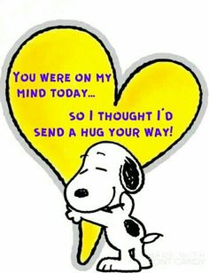 Cute hug and thinking you Peanuts Snoopy with heart. Heartfelt sentiment to family, friends, and others. Charlie Brown Quotes, Charlie Brown And Snoopy, Peanuts Quotes, Snoopy Quotes, Snoopy Love, Snoopy And Woodstock, Snoopy Hug, Snoopy Cartoon, Peanuts Cartoon