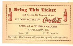 1930 postcard back http://www.7xpub.com/advertising-covers/1720-free-coca-cola-1c-postcard-charleston-illinois-1930.html