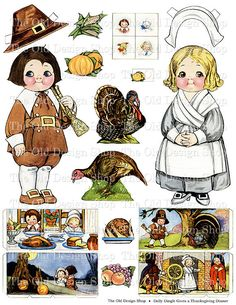 Thanksgiving Paper Dolls | Dolly Dingle Thanksgiving Paper Doll Vintage Printable Digital Collage ...