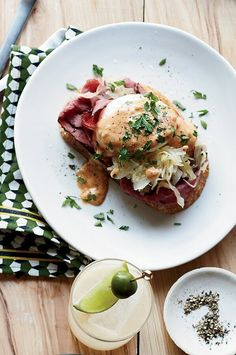 This spin on eggs Benedict from chef Josh Habiger has all the beloved elements of a Reuben sandwich. Besides corned beef, sauerkraut and rye toast, Habiger makes a Thousand Island–style hollandaise sauce to coat the eggs. #breakfastrecipes #brunchrecipes #breakfastideas #brunchideas Best Brunch Recipes, Great Recipes, Breakfast Recipes, Rye Toast, Reuben Sandwich, Good Food, Yummy Food, Healthy Food, Healthy Recipes