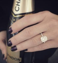 #Champagne & #diamonds - what else do you need? via @bridetobride @twobylondon #diamondring #engagementring