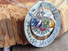 sterling silver mother/grandma necklace with birthstones on Etsy, $66.00