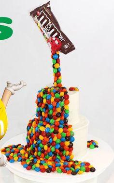 MM Cake M&ms Cake, No Bake Cake, Eat Cake, Anti Gravity Cake, Gravity Defying Cake, Delicious Cake Recipes, Best Cake Recipes, Fondant Cakes, Cupcake Cakes