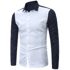 Long Sleeves Two Tone Shirt (41 BAM) ❤ liked on Polyvore featuring men's fashion, men's clothing, men's shirts, men's casual shirts, mens longsleeve shirts, mens long sleeve shirts, mens long sleeve casual shirts and two tone mens dress shirts