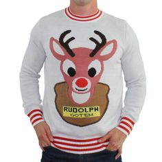 Ryan gets Bambi & Rudolph. This is appropriate. Mounted Rudolph White Christmas Sweater | Tipsy Elves